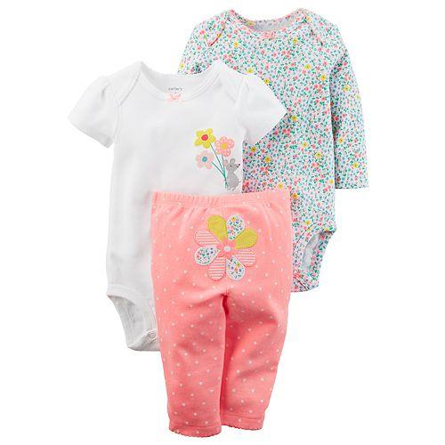 6d8bd890f Baby Girl Carter's 3-pc. Flower Bodysuit & Pants Set