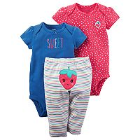 Baby Girl Carter's 3-pc. Strawberry Bodysuit & Pants Set