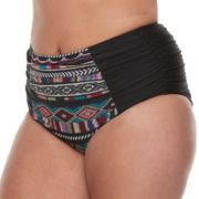 Plus Size Mix and Match Tummy Slimmer Tribal High-Waisted Bikini Bottoms