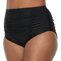 Plus Size Mix and Match Ruched High-Waisted Bikini Bottoms