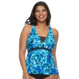 Plus Size Mix and Match Tie-Dye Apron-Back Tankini Top