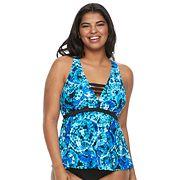 Plus Size Mix and Match Tie-Dye Apron-Back Tankini Top