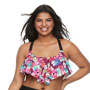 Plus Size Mix and Match Tropical Flounce Bikini Top