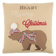 "Rizzy Home ""Beary Merry Christmas"" Throw Pillow"