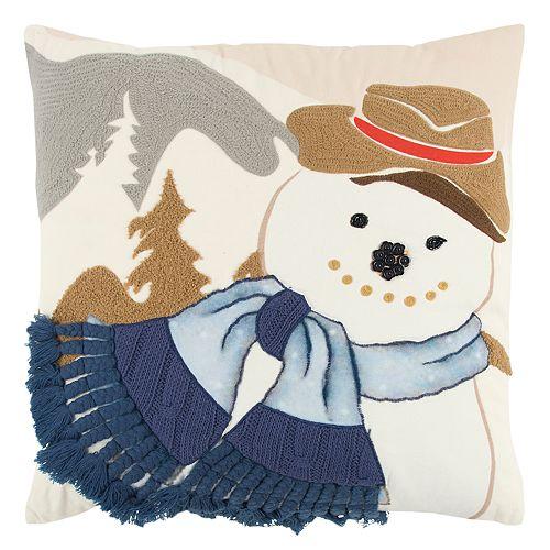 Rizzy Home Snowman Scarf Throw Pillow