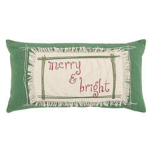 """Rizzy Home """"Merry & Bright"""" Oblong Throw Pillow"""
