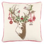 Rizzy Home Christmas Ornament Deer I Throw Pillow