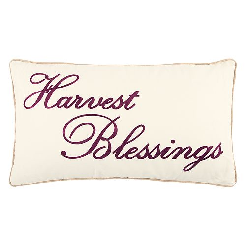 "Rizzy Home ""Harvest Blessings"" Oblong Throw Pillow"