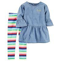 Toddler Girl Carter's Chambray Tunic Top & Striped Leggings Set