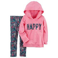 Toddler Girl Carter's 'Happy' Hoodie & Floral Leggings Set