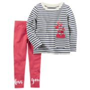 "Toddler Girl Carter's Striped Heart Top & ""Love You"" Polka-Dot Leggings Set"