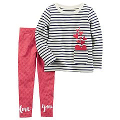Toddler Girl Carter's Striped Heart Top & 'Love You' Polka-Dot Leggings Set