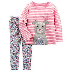 Toddler Girl Carter's Striped Dog Graphic Tee & Floral Leggings Set