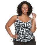 Plus Size Apt. 9® Printed Shirred Tankini Top