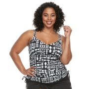Plus Size Apt. 9® Printed Shirred Tankini Top
