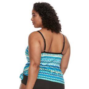 Plus Size Apt. 9® Printed Faux-Tankini One-Piece Swimsuit