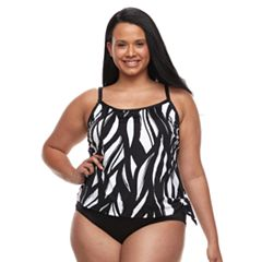 Plus Size Apt. 9® Printed Faux-Tankini One-Piece Swimsuit