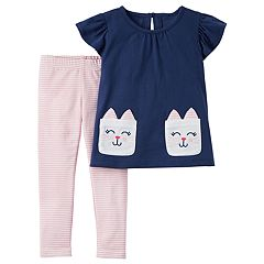 Toddler Girl Carter's Kitty Cat Graphic Tee & Striped Leggings Set