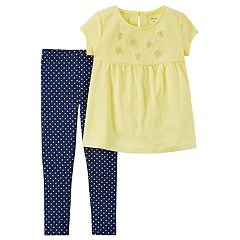 Toddler Girl Carter's Butterfly & Flower Top & Polka-Dot Leggings Set