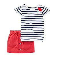 Toddler Girl Carter's Striped Tee & Scooter Set