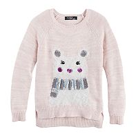 Girls 7-16 Sugar Rush Fuzzy Animal Applique Sweater