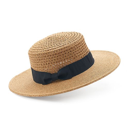Women's SONOMA Goods for Life™ Woven Boater Hat with Grosgrain Band