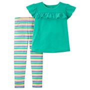 Toddler Girl Carter's Flutter Tee & Striped Leggings Set