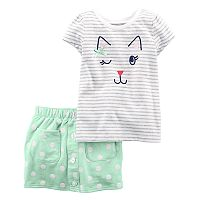Toddler Girl Carter's Kitty Face Top & Skirt Set