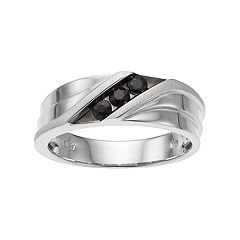 Men's 10k White Gold Black Sapphire 3-Stone Ring