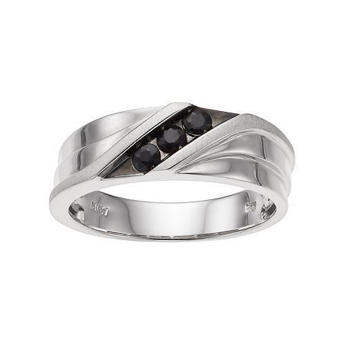 Men's 10k White Gold Black Sapphire 3-Stone Ring