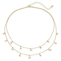 LC Lauren Conrad Simulated Pearl & Disc Double Strand Necklace