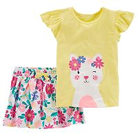 Toddler Girl Carter's Floral Kitty Graphic Tee & Floral Skort Set