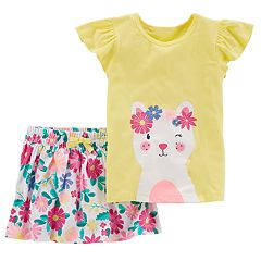 Toddler Girl Carter's Floral Kitty Graphic Tee & Floral Skort Set