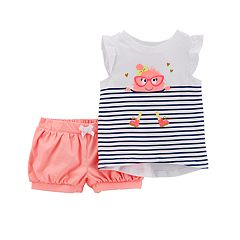 Toddler Girl Carter's Striped Monster Tee & Bubble Shorts Set