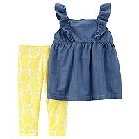 Toddler Girl Carter's Chambray Top & Yellow Floral Pattern Leggings
