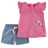 Toddler Girl Carter's Striped Pelican Applique Top & Chambray Shorts Set