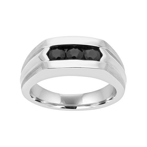 Men's Sterling Silver Black Sapphire 3-Stone Ring
