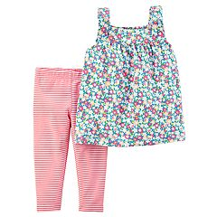 Toddler Girl Carter's Floral Tank Top & Striped Leggings Set