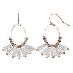 Oval Fan Drop Earrings