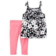 Toddler Girl Carter's Black & White Floral Top & Pink Leggings Set