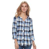 Women's Croft & Barrow® Plaid Pintuck Shirt