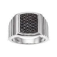 Men's Sterling Silver Black Sapphire Cluster Ring