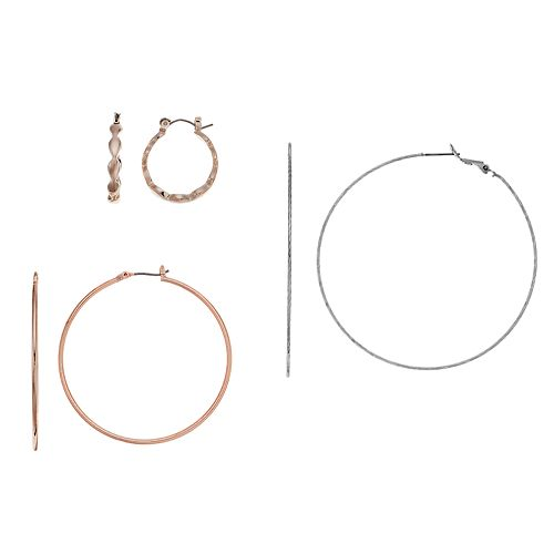 Scalloped & Twisted Hoop Earring Set