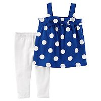 Toddler Girl Carter's Polka-Dot Tank Top & White Leggings Set