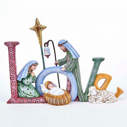 """Kurt Adler """"Love"""" Nativity Scene Christmas Table Decor"""