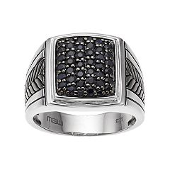 Men's Sterling Silver Black Sapphire Textured Cluster Ring