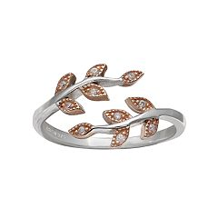 PRIMROSE Two Tone Sterling Silver Cubic Zirconia Leaf Bypass Ring