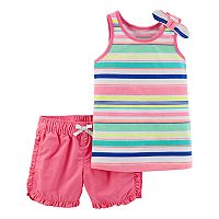 Toddler Girl Carter's Striped Tank Top & Ruffled Shorts Set