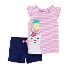 Toddler Girl Carter's Cat & Fruit Striped Top & Shorts Set