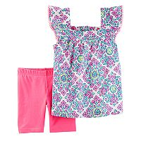 Toddler Girl Carter's Medallion Top & Solid Bike Shorts Set